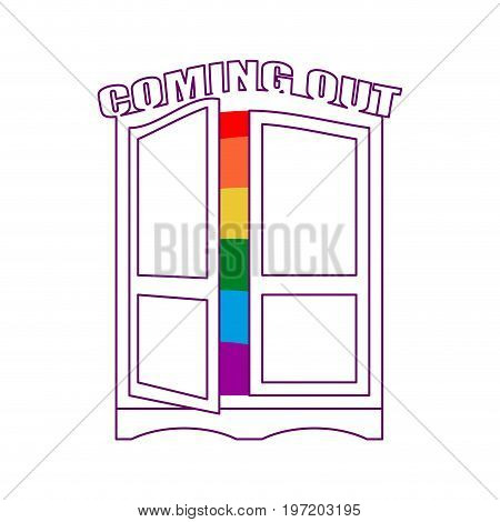 Coming Out Wardrobe Lgbt Symbol. Open Closet Door. Get Out Of Wardrobe Gay. Recognition Furniture