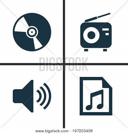 Multimedia Icons Set. Collection Of File, Tuner, Sound And Other Elements