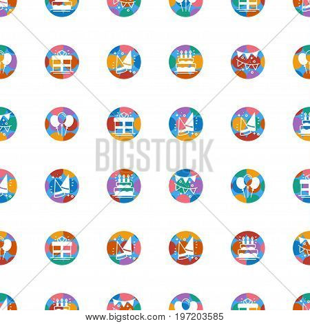 Party celebration seamless pattern. Birthday holidays event carnival festive. Party decor elements thin icons. Colorful vector illustration. Line background. Texture. Gifts cake cocktail