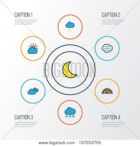 Weather Colorful Outline Icons Set. Collection Of Overcast Weather, Clouded, Tempest And Other Elements