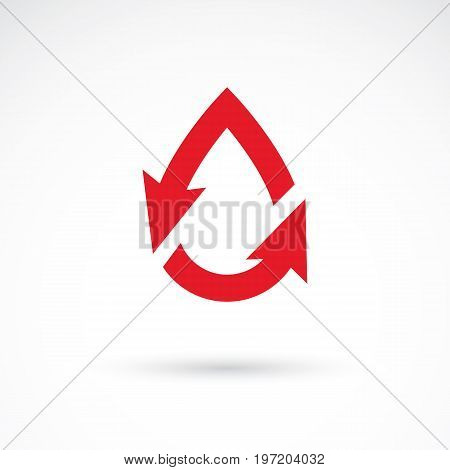 Vector illustration of heart shape with arrows and drops of blood. Cardiovascular illness treatment concept for use as cardio center emblem.