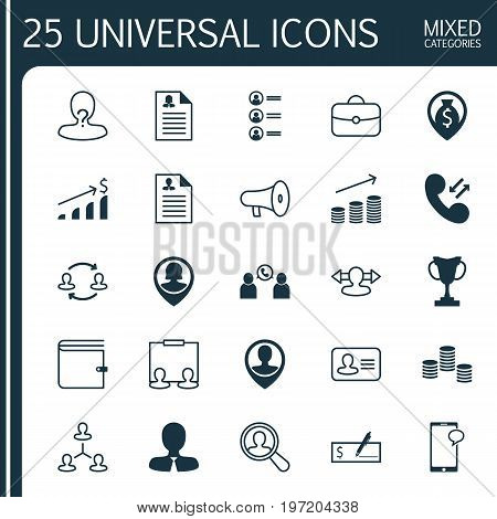 Hr Icons Set. Collection Of Money, Woman Resume, Tournament And Other Elements