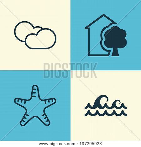 Eco Icons Set. Collection Of House, Ocean Wave, Cloud Cumulus And Other Elements