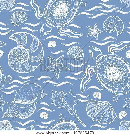 Marine lie seamless pattern. Seashell turtle mollusk ocean waves background
