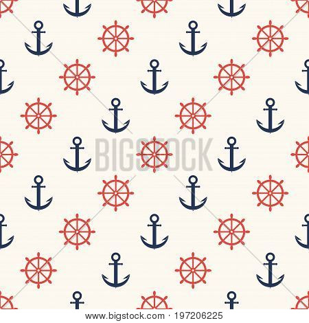 Marine Pattern. Ship Helm And Anchor, Navy Seamless Pattern