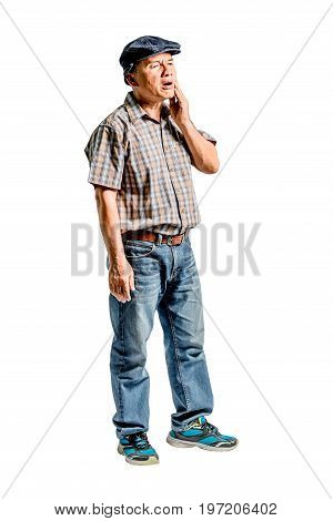 Portrait Of A Mature Man With A Toothache. Isolated Full Length On White Background With Clipping Pa