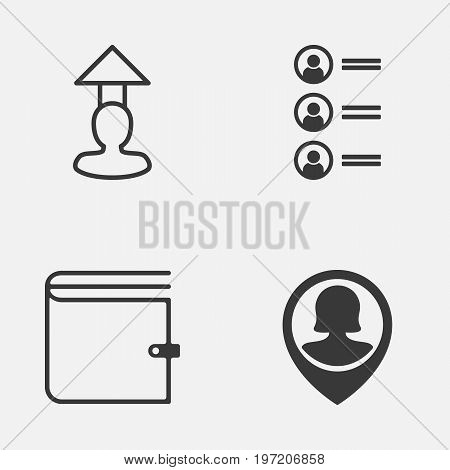 Management Icons Set. Collection Of Job Applicants, Female Pin, Destination And Other Elements