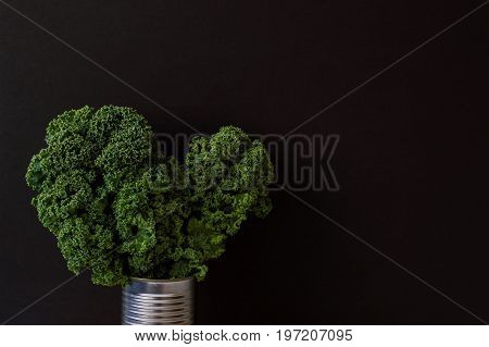 Background with curly kale bunch in a metal jar. Raw kale leaves