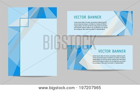 Layout set: cover and two banners. Blue geometric backgrounds with text place, modern technology templates for presentations, brochures, annual reports, posters, booklets, leaflets. Vector EPS10