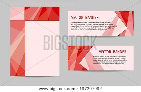 Layout set: cover and two banners. Bright red geometric backgrounds with text place. Modern technology templates for brochures, booklets, leaflets, posters, presentations, annual reports. Vector EPS10
