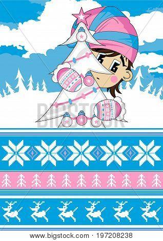 Cute Cartoon Elf and Christmas Tree Illustration