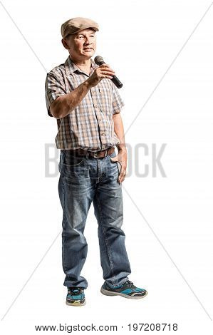 Portrait Of A Happy Mature Man Presented With Microphone. Isolated Full Lenth On White Background Wi