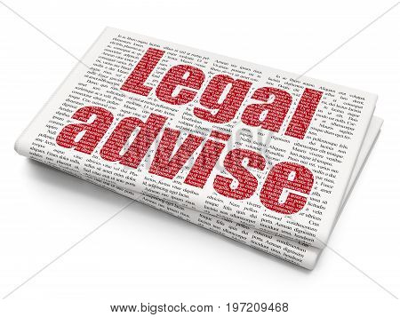 Law concept: Pixelated red text Legal Advise on Newspaper background, 3D rendering