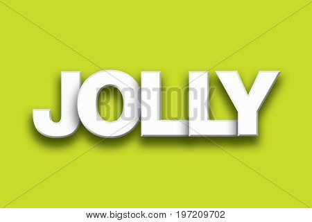 The word Jolly concept written in 3D white type on a colorful background.