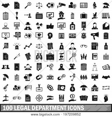100 legal department icons set in simple style for any design vector illustration
