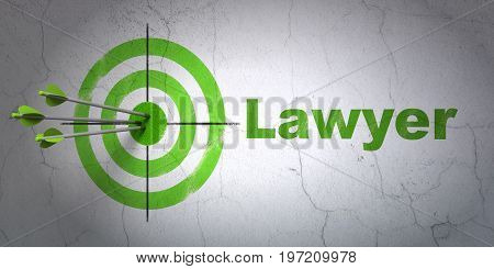 Success law concept: arrows hitting the center of target, Green Lawyer on wall background, 3D rendering