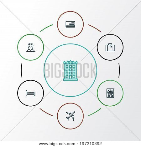 Traveling Outline Icons Set. Collection Of Bedstead, Plane, Credit And Other Elements