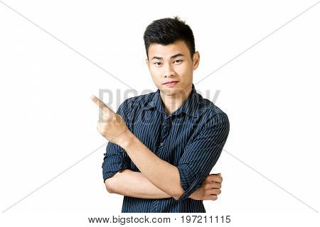 Portrait Of A Young Businessman Pointed His Hand To Left Side. Isolated On White Background With Cop