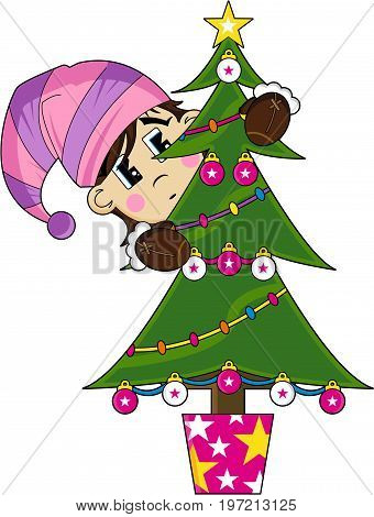 Cute Cartoon Christmas Elf and Tree Illustration