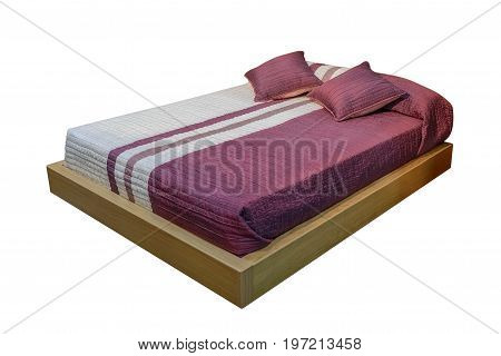 image of covered bed isolated on white background