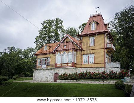 SAAREMAA, ESTONIA 7TH SPETEMBER 2012 - Wooden building in Lossipark the castle park Kuressaare town on the island of Saaremaa Estonia northern Europe