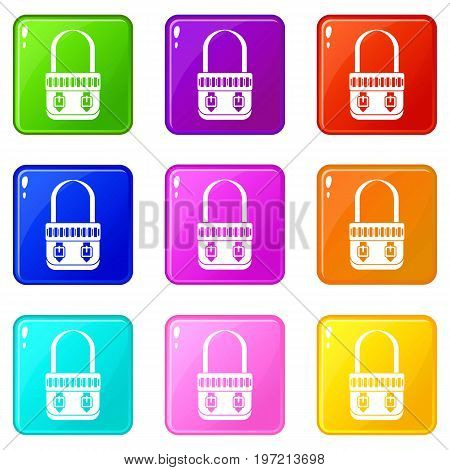Shoulder bag icons of 9 color set isolated vector illustration