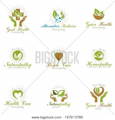 Living in harmony with nature metaphor set of green health idea logo. Wellness center abstract modern emblems.