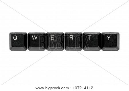 blach qwerty keyboard keys on white background