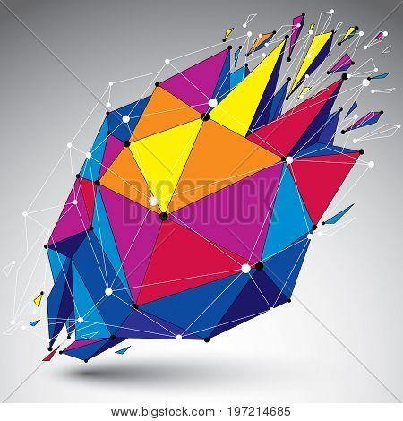 3d vector low poly object with connected lines and dots colorful geometric wireframe shape with refractions. Asymmetric perspective shattered form.