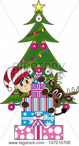Reindeer & Elf With Tree