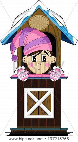 Cute Cartoon Christmas Elf in Winter Hut