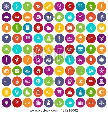 100 childrens parties icons set in different colors circle isolated vector illustration