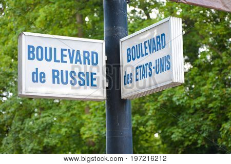 Signpost at Vichy in France Russia and USA together.