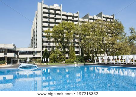 SAINTS CONSTANTINE AND HELENA, BULGARIA - April 27, 2015: Grand Hotel Varna in Saints Constantine and Helena, the oldest first sea resort of Bulgaria, exists from 19 century.