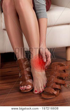 Woman Has Pain In Leg Because Wearing Higtheels.
