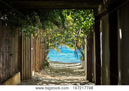 the tunnel leading to the azure sea