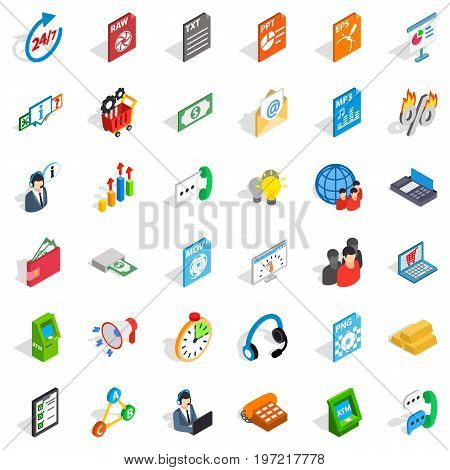 Business icons set. Isometric style of 36 business vector icons for web isolated on white background