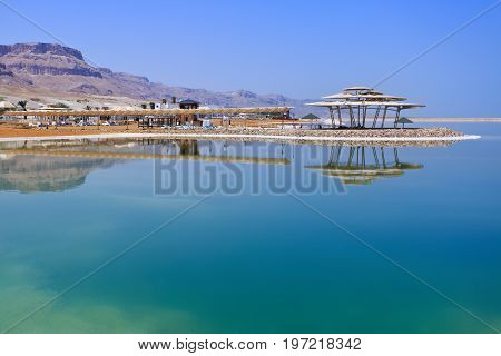 The dead sea resorts in Israel. View of the hotel and the beach. Dead Sea Israel.