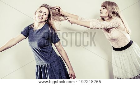 Aggressive Mad Women Fighting Each Other.