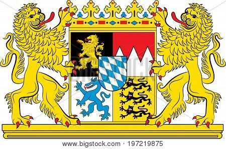 Coat of arms of Free State of Bavaria - the land in the south and southeast of the Federal Republic of Germany. Vector illustration from the