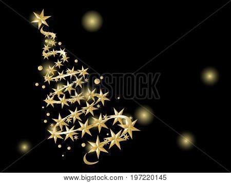 Black abstract background with gold christmas tree