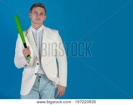 Businessman Wearing White Jacket, Shirt And Pants