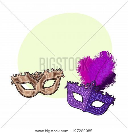 Two decorated Venetian carnival masks, one with feathers, another with golden ornaments, sketch vector illustration with space for text. Realistic hand drawing of two carnival, Venetian mask