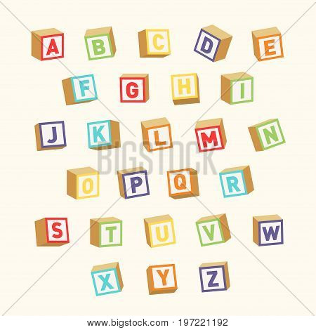 Alphabet. Colorful toy blocks font for children education. Vector