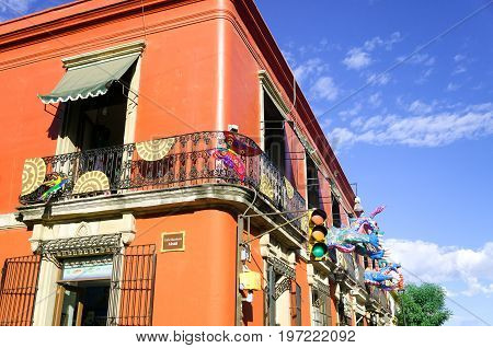 OAXACA MEXICO-MARCH 4: Colorful building on a corner in Oaxaca Mexico on March 4 2017