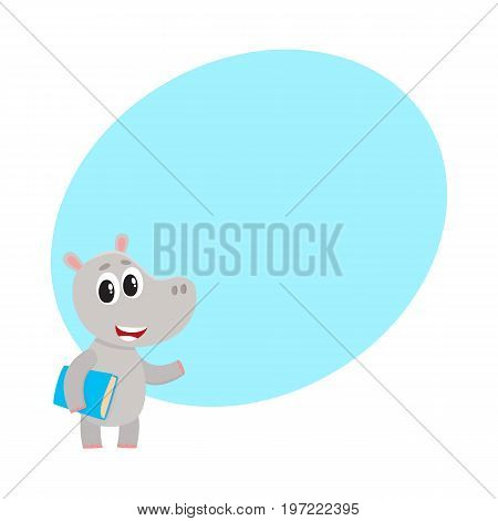Cute little hippo student character standing with book under arm, cartoon vector illustration with space for text. Little hippo animal student character with a book, back to school concept