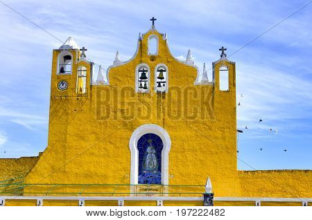 View of the belfry of the cathedral in Izamal Mexico