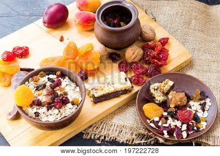 Healthy Breakfast. Breakfast Made Of Dried Fruits And Oatmeal.