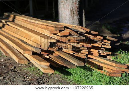A pile of wooden planks in the clearing