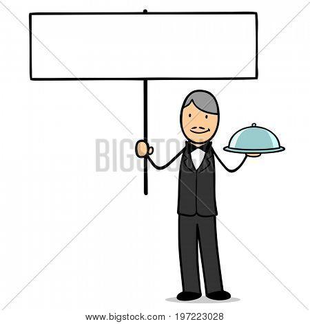 Waiter holding advertising blank sign for marketing